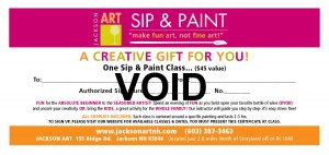 SIP AND PAINT GIFT CERTIFICATE