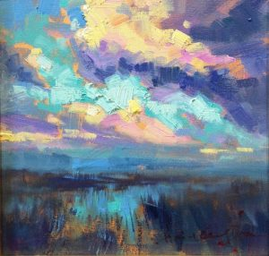coloudy day at the marsh 12x12 hai-Ou Hou