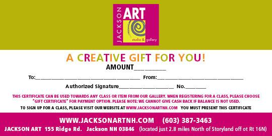 Jackson Art Studio Gift Certificate
