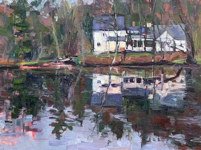 Small White House Reflected 12x16 - $760