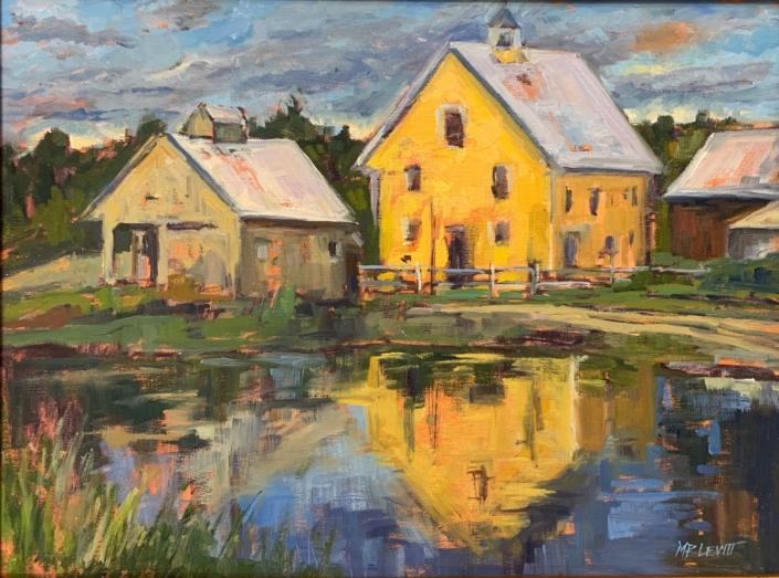 "Yellow Barn Reflected (12""x16"") oil by Melanie Barash Levitt, $760"