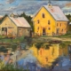 "Yellow Barn Reflected (12""x16"") oil by Melanie Barash Levitt, $760"