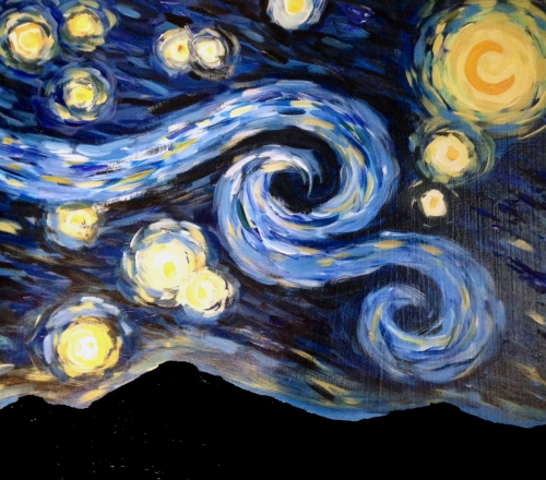 ZOOM & Paint! Starry Night over the Mountains, Jan 2