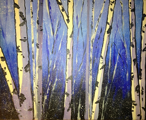 ZOOM & Paint! Winter Birch, Dec 26 (evening-all ages!)