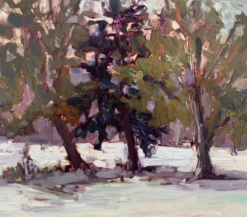 (Workshop) Painting Trees & Snow:Beginner Landscape Painting via Zoom, Feb 24-March 10